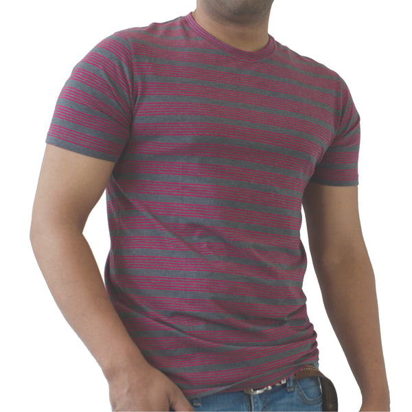 Heather Red Stripe - Pima Cotton