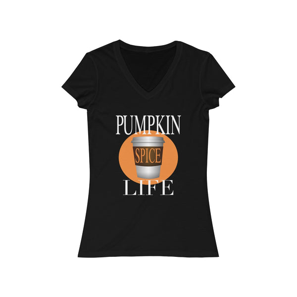 Pumpkin Spice Life Women's Jersey Short Sleeve V-Neck Tee