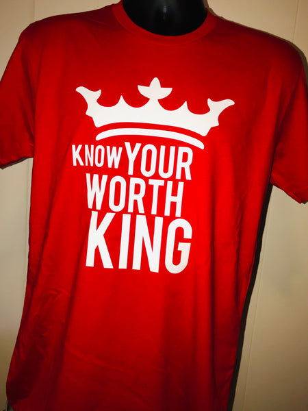 Know Your Worth King Unisex Crown Red or Black Awesome Tee