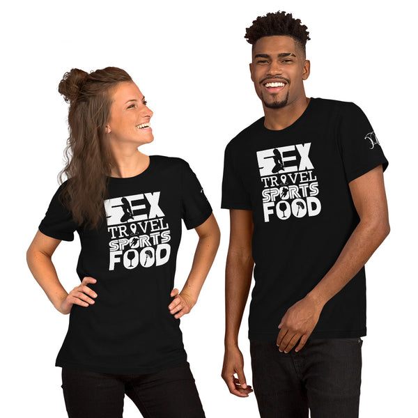 Sex Travel Sports Food Podcast Short Sleeve Unisex T-Shirt