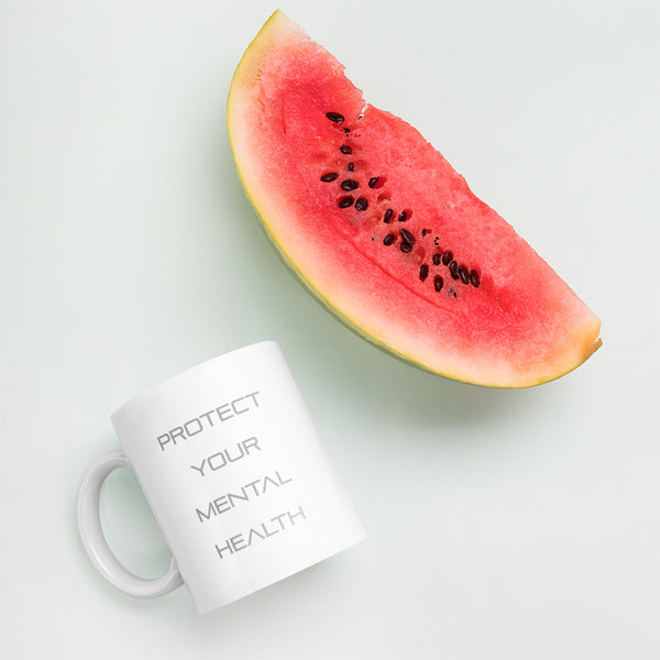 Protect Your Mental Health Grey Lettering Ceramic Mug