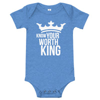 Baby Bodysuit - Know Your Worth King - Short Sleeve