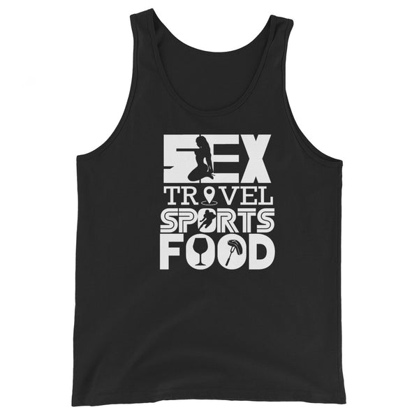 Sex Travel Sports Food Podcast Unisex Tank Top