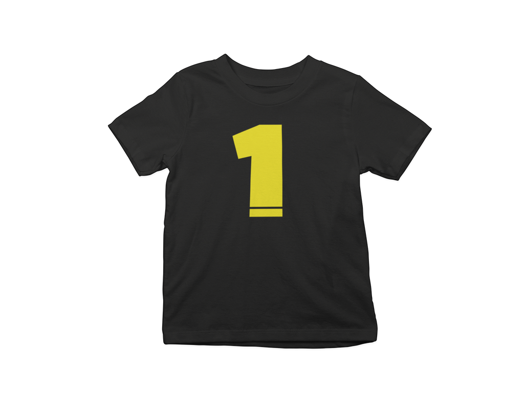 Age Number 1 Toddler T-shirt Black and Yellow - Bella Rose Closet