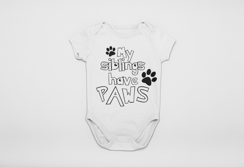 My Siblings Have Paws Onesie - Bella Rose Closet