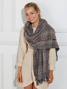 Oversized Brown Check Scarf