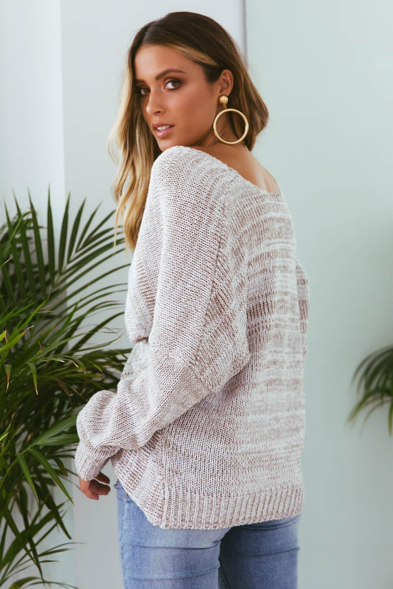 TIA Double Cross Knit in Sand