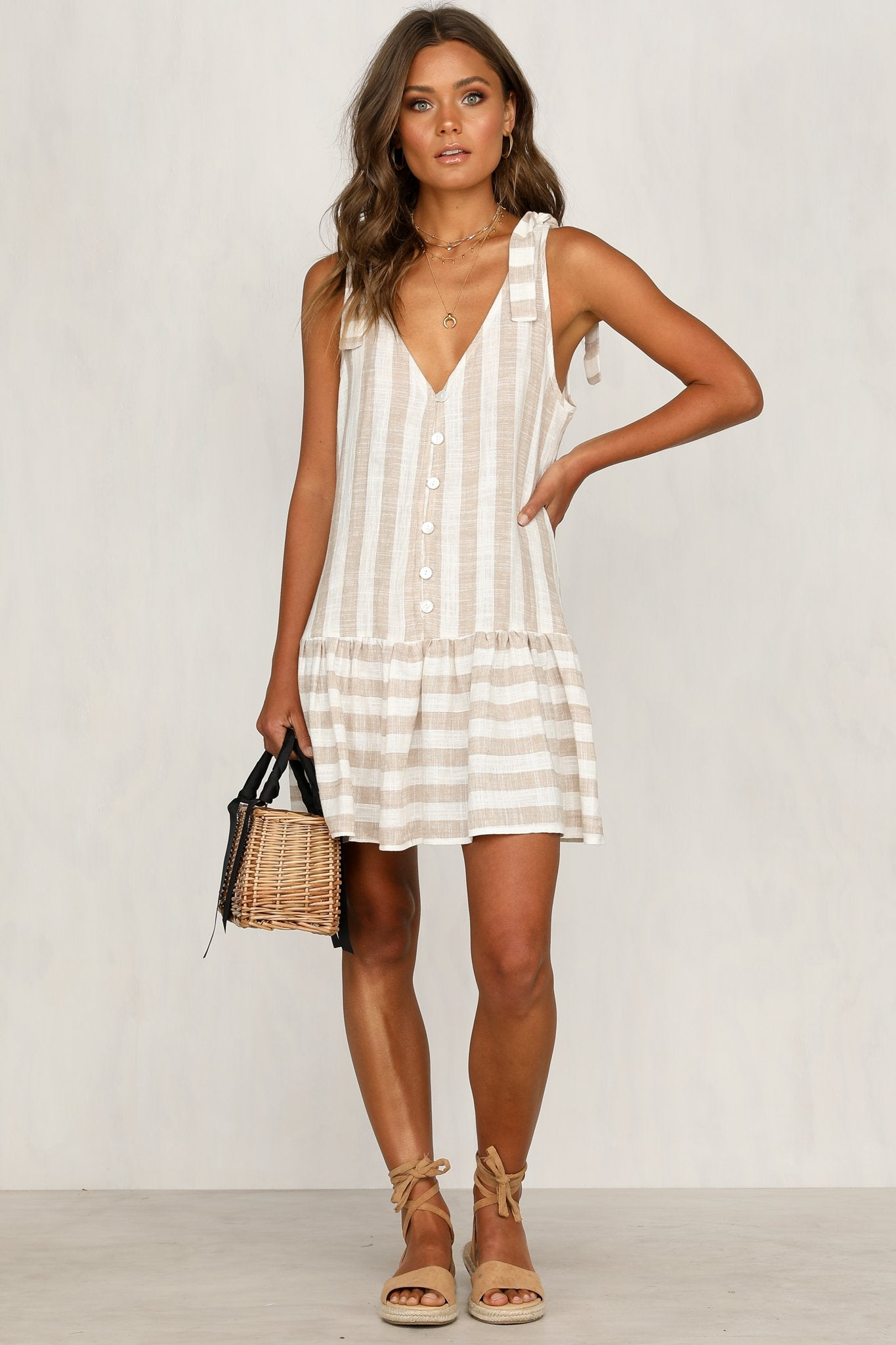 CRUISE DRESS | Beige & White stripe