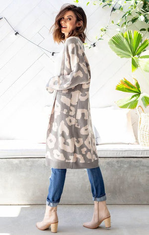 Lily Animal Print Long Cardigan- Grey