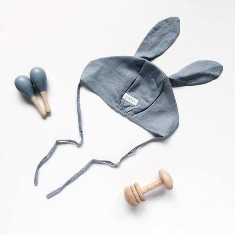 grey baby bunny bonnet with baby rattle and baby maracas toy