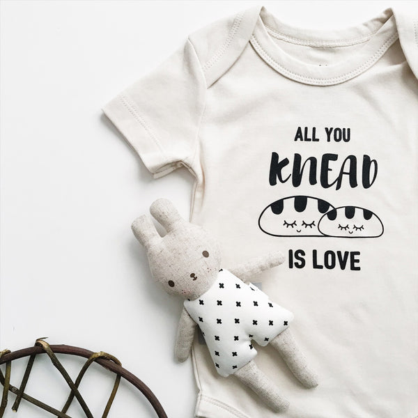 All you knead is love organic baby clothing with bunny toy