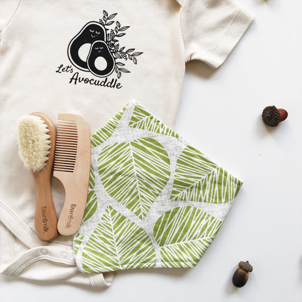 let's avocuddle baby romper with handmade bibs and brush