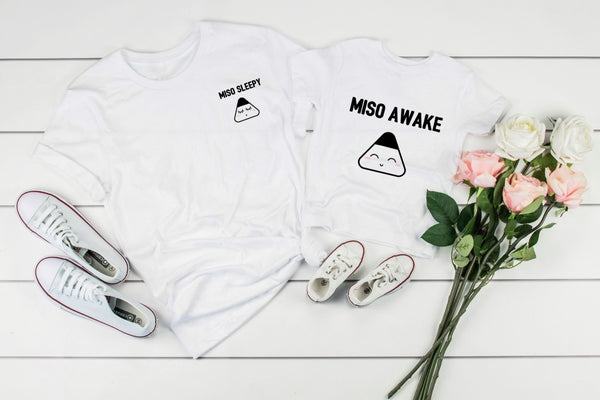 Matching Miso Organic T-shirts flatlay with shoes and flowers