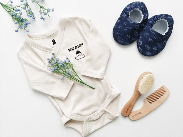 Sushi handmade baby shoes in miso sleepy organic baby gift set
