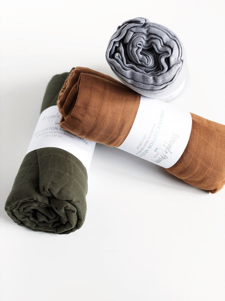 organic muslin wrap in different colours
