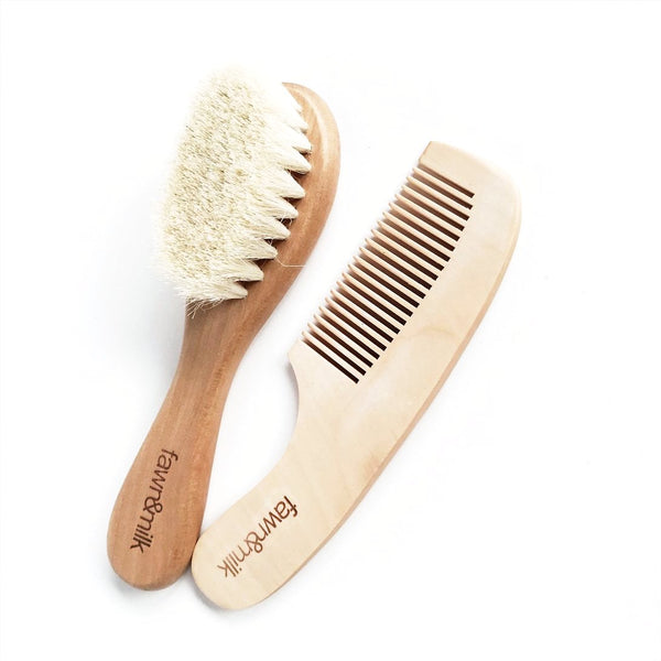baby wooden comb and brush set
