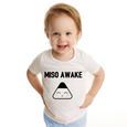 Toddler model wearing miso awake organic T-shirt
