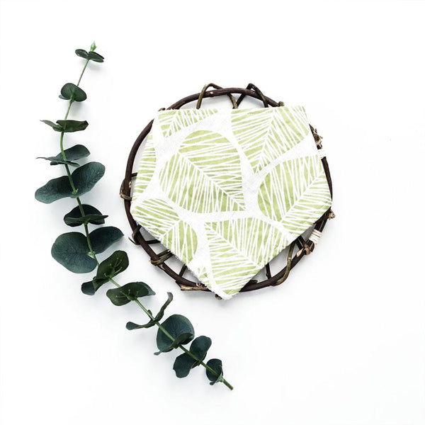 green leaves handmade bib