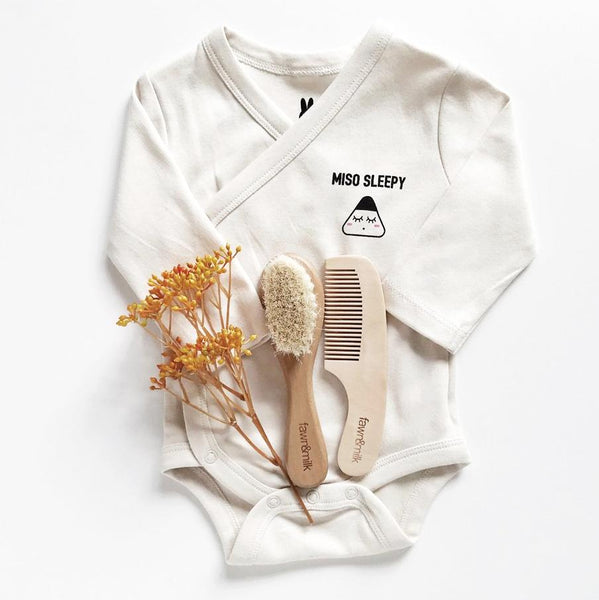 Miso sleepy organic baby kimono with baby brush
