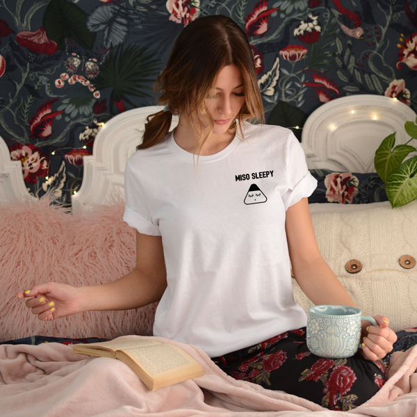 Model wearing miso sleepy organic t-shirt