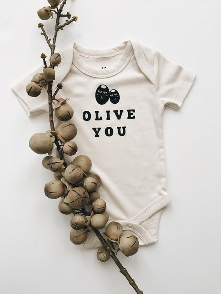 olive you baby organic romper