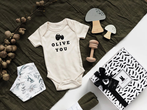 olive you baby gift set collection with toki baby gift box