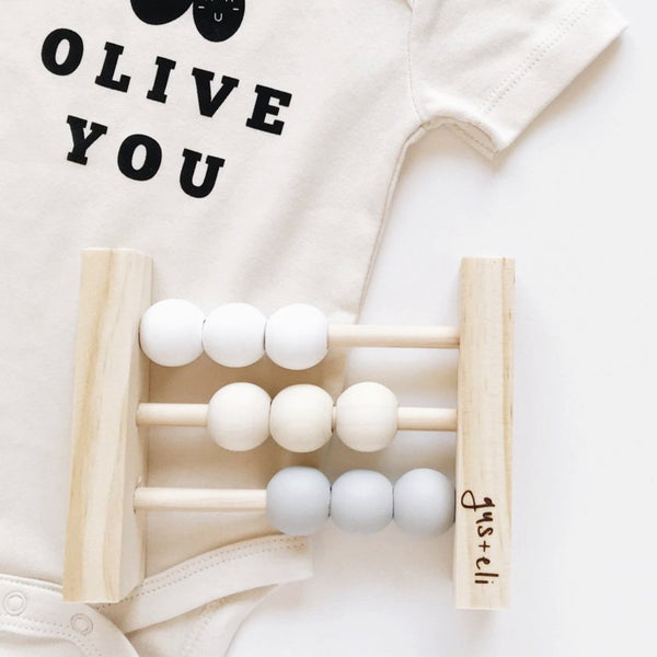 olive you and wooden baby abacus baby gift