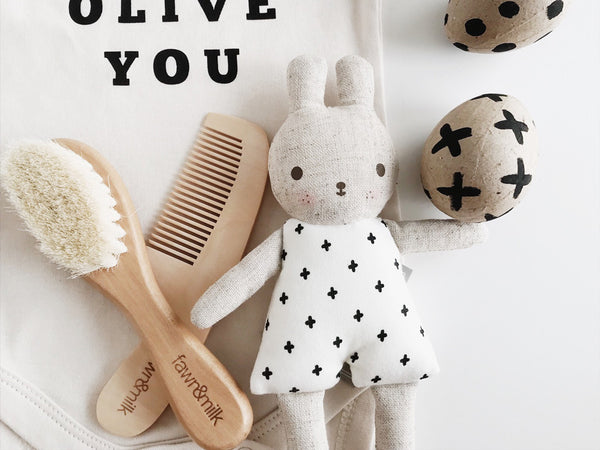 baby brush and comb set with baby bunny toy and olive you baby organic romper