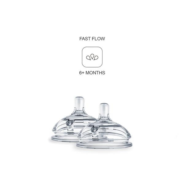 Comotomo Baby Bottle Replacement Nipple - 2 Pack - Fast Flow(6+mo)