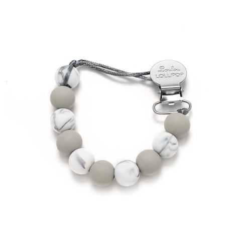 LouLou Lollipop Lolli Silicone Pacifier Clip in Marble Gray