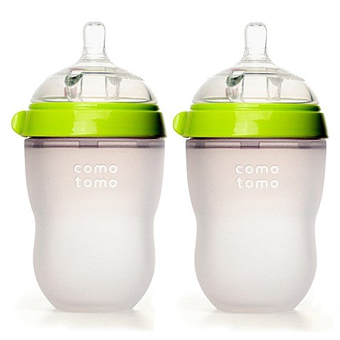 Comotomo Baby Bottle in Green,  8 Ounce, 2 Pack