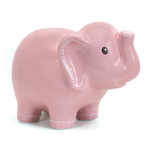Child to Cherish Large Stitched Elephant Bank - Pink