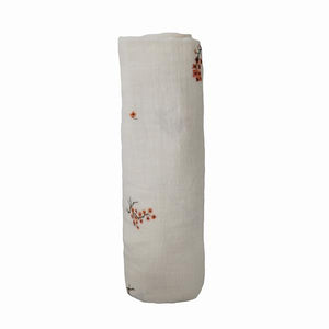 Mushie Muslin Organic Cotton Swaddle Blanket  -Flowers