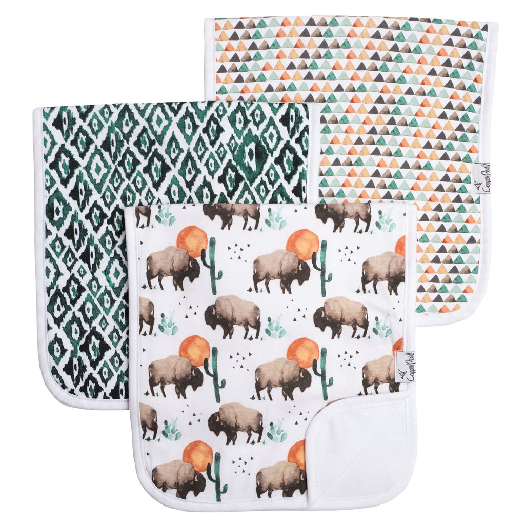 Copper Pearl Premium Burp Cloths 3 Pack- Bison