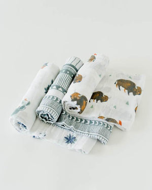Little Unicorn Cotton Muslin Swaddle 3-Pack - Bison