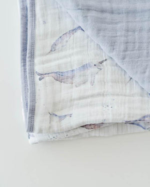 Little Unicorn Cotton Muslin Quilt in Narwhal