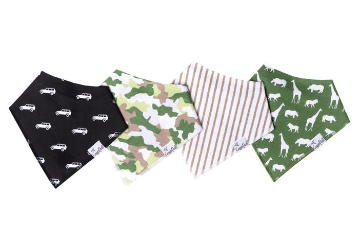 Copper Pearl 4-Pack Bandana Bibs - Safari