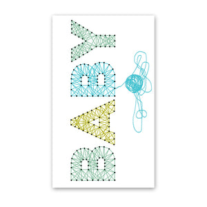 rock scissor paper enclosure card - blue string baby