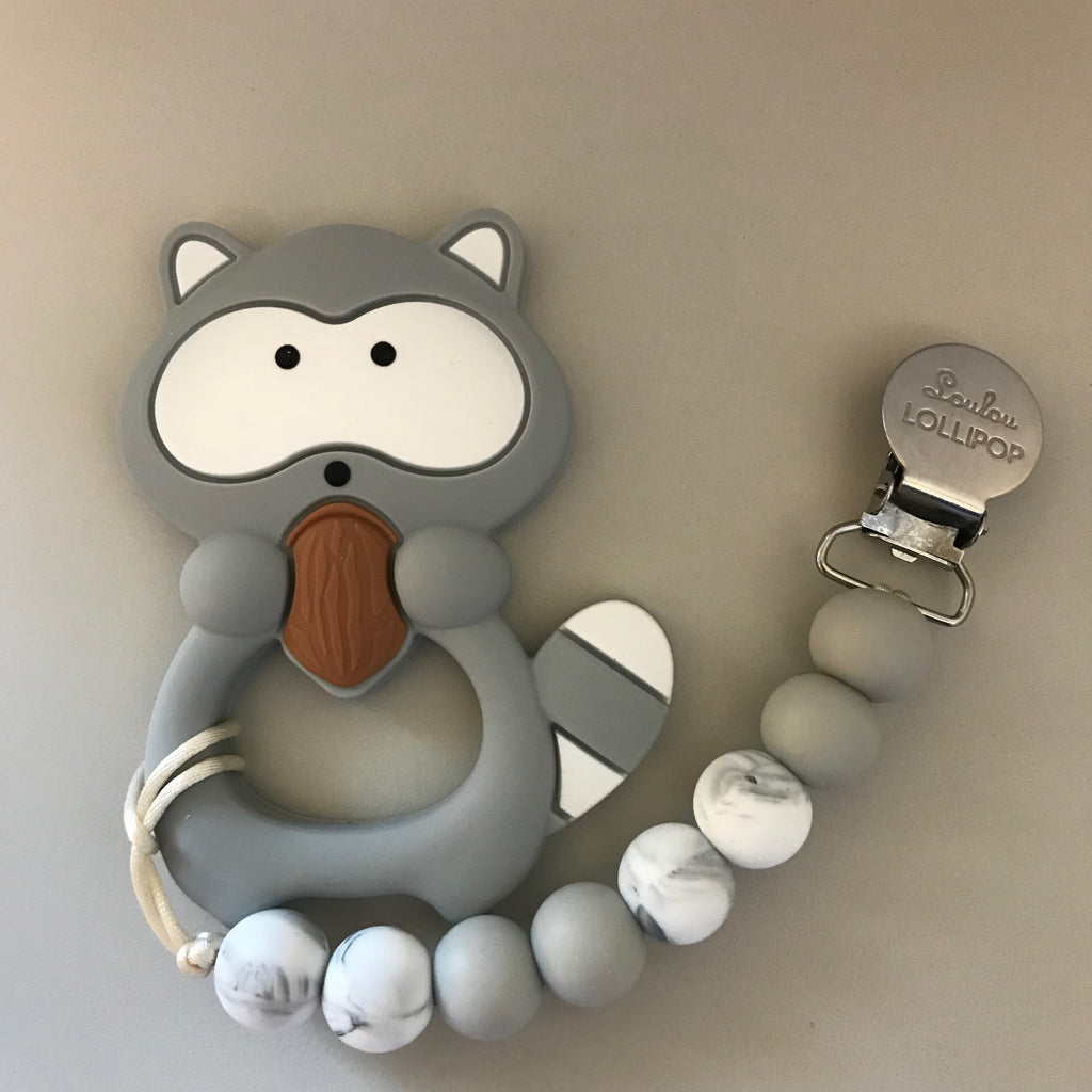 Loulou Lollipop Grey Raccoon Teether