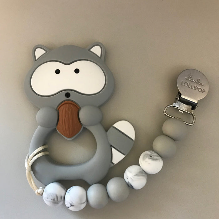 Loulou Lollipop Grey Racoon Teether