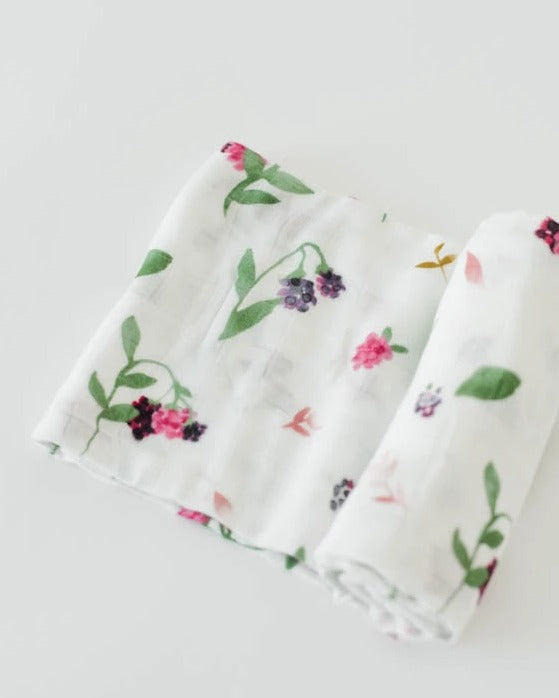 Little Unicorn Deluxe Muslin Single Swaddle - Berry Patch