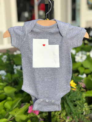 rock scissor paper utah love onesie in grey - medium(6 month)
