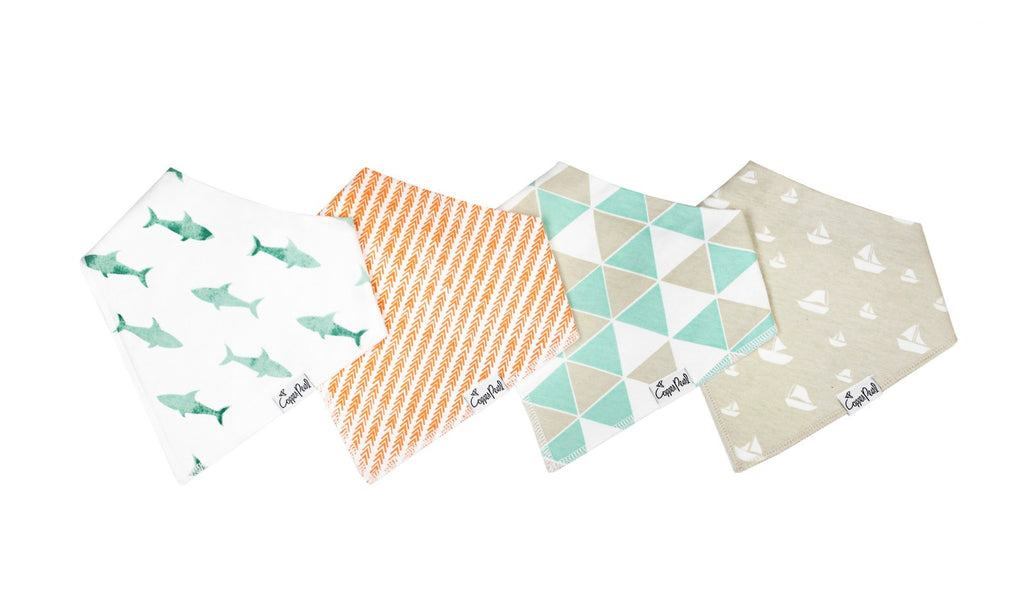 Copper Pearl 4-Pack Bandana Bibs - Pacific
