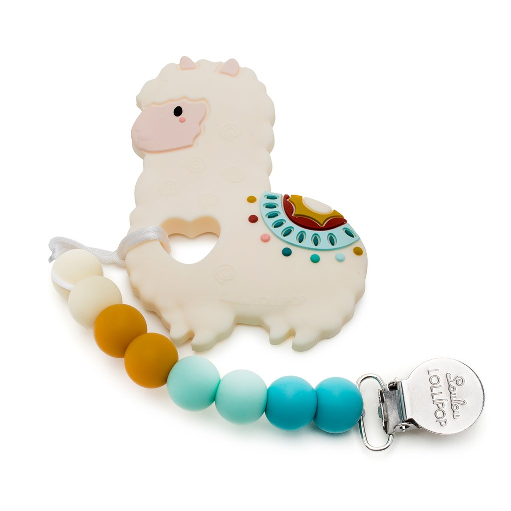 Loulou Lollipop Silicone Teether with Holder Set in Llama