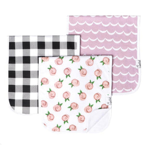 Copper Pearl Premium Burp Cloths 3 Pack- Rosie