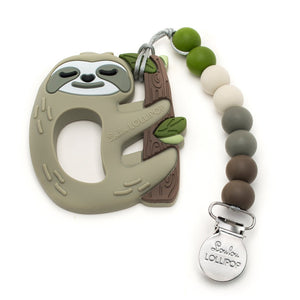 Loulou Lollipop Silicone Teether with Holder Set in Sloth