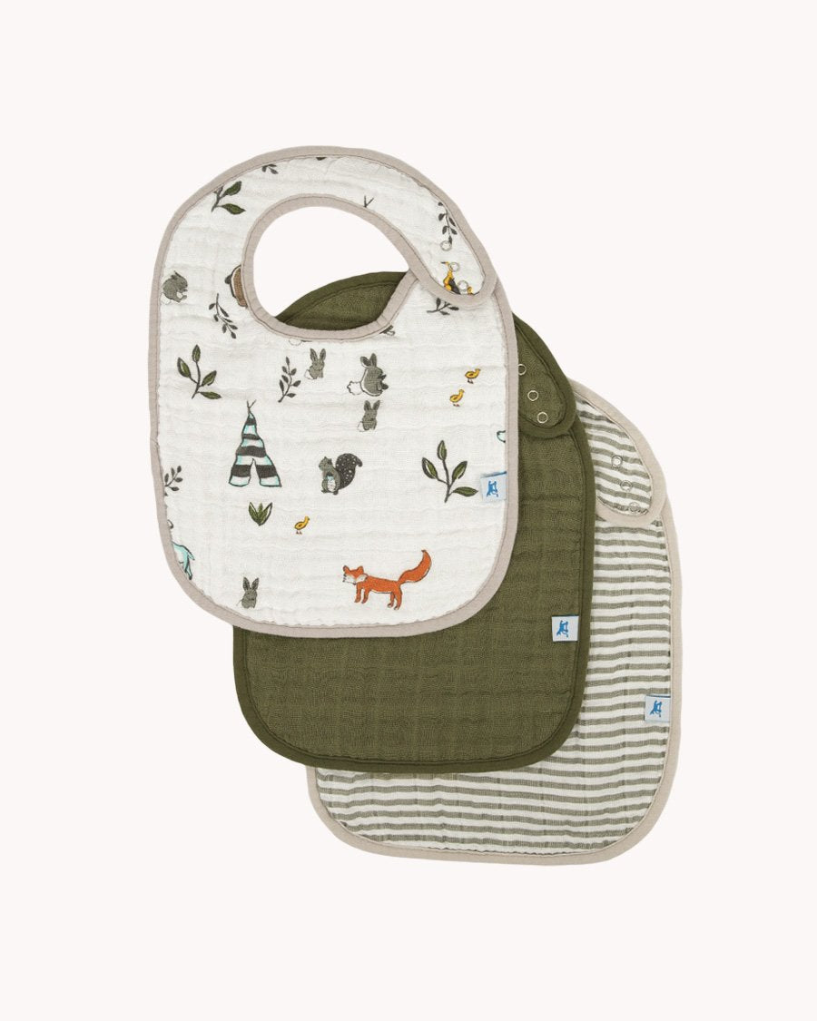 Little Unicorn Cotton Muslin Classic Bib 3 Pack - Forest Friends 2