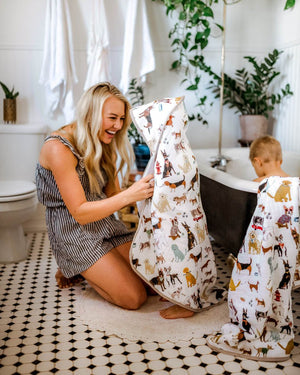 Little Unicorn Hooded Towel and Washcloth Set - Woof