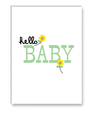 rock scissor paper card - hello baby