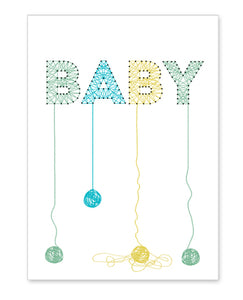 rock scissor paper card - string art baby boy